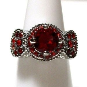 Ring Size 6 Simulated Diamond Red Ruby #426